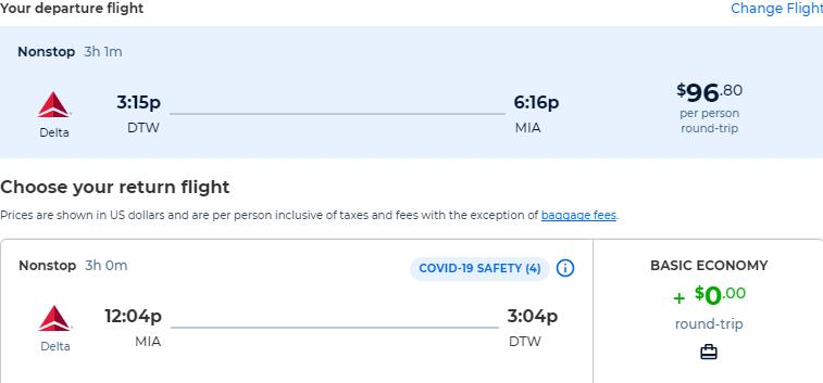Non-stop flights from Detroit to Miami for only $96 roundtrip with Delta Air Lines. Also works in reverse. Flight deal ticket image.