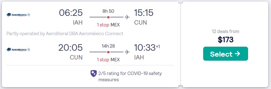 Cheap flights from Houston, Texas to Cancun, Mexico for only $173 roundtrip with Aeromexico. Flight deal ticket image.