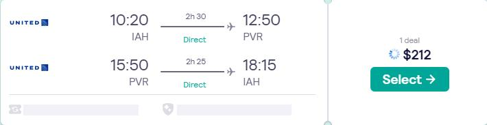 Non-stop, summer flights from Houston, Texas to Puerto Vallarta, Mexico for only $212 roundtrip with United Airlines. Flight deal ticket image.