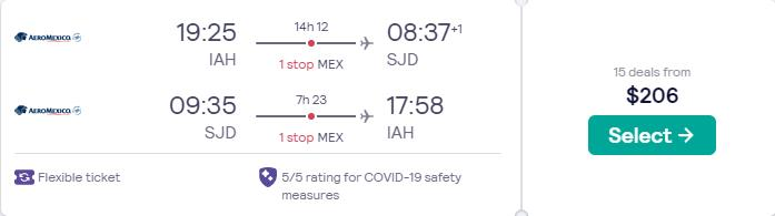 Cheap flights from Houston, Texas to San Jose del Cabo, Mexico for only $206 roundtrip with Aeromexico. Flight deal ticket image.