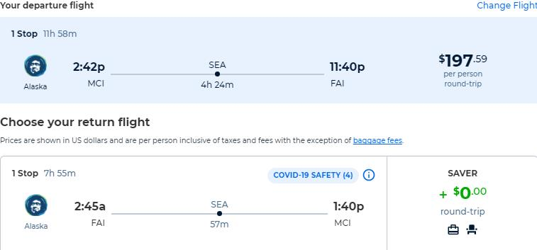 Summer flights from Kansas City to Fairbanks, Alaska for only $197 roundtrip with Alaska Airlines. Also works in reverse. Flight deal ticket image.
