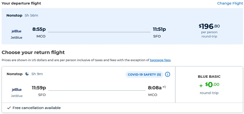 Non-stop flights from Orlando, Florida to San Francisco for only $196 roundtrip with JetBlue. Also works in reverse. Flight deal ticket image.