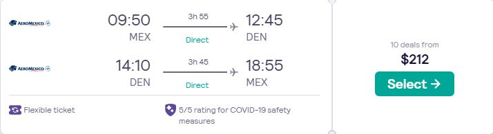 Non-stop flights from Mexico City, Mexico to Denver, Colorado for only $212 USD roundtrip with Aeromexico. Flight deal ticket image.