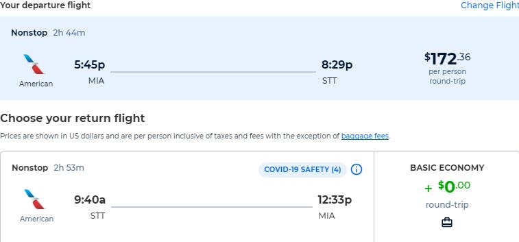 Non-stop flights from Miami to the US Virgin Islands for only $172 roundtrip with American Airlines. Flight deal ticket image.