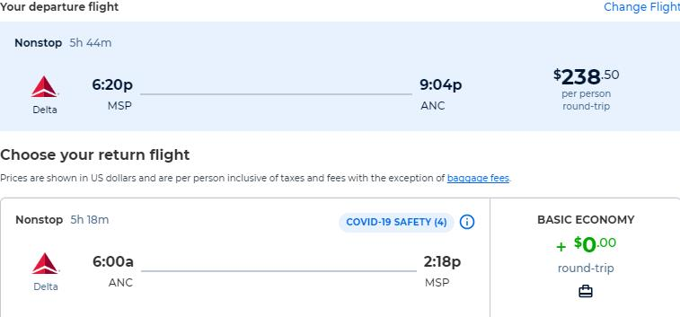 Non-stop, summer flights from Minneapolis to Anchorage, Alaska for only $238 roundtrip. Also works in reverse. Flight deal ticket image.