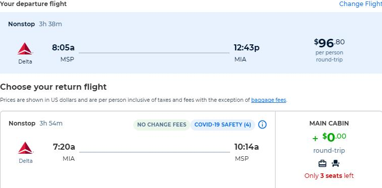 Non-stop, summer flights from Minneapolis to Miami for only $96 roundtrip with Delta Air Lines. Also works in reverse. Flight deal ticket image.