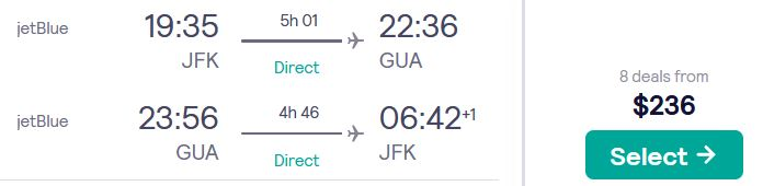 Non-stop flights from New York to Guatemala City, Guatemala for only $236 roundtrip with JetBlue. Flight deal ticket image.