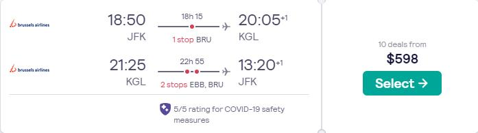Cheap flights from New York to Kigali, Rwanda for only $598 roundtrip with Brussels Airlines and United Airlines. Flight deal ticket image.