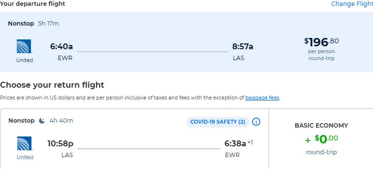 Non-stop flights from New York to Las Vegas for only $196 roundtrip with United Airlines. Also works in reverse. Flight deal ticket image.