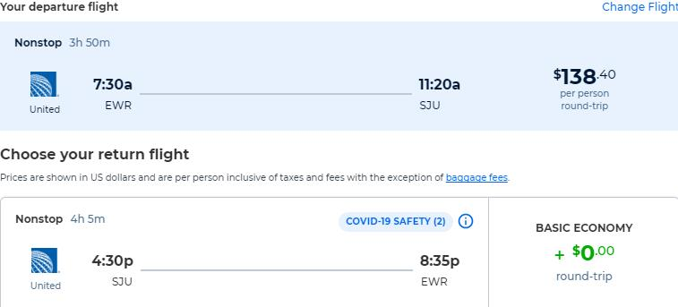 Non-stop flights from New York to San Juan, Puerto Rico for only $138 roundtrip with United Airlines. Flight deal ticket image.
