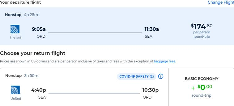 Non-stop flights from Chicago to Seattle for only $174 roundtrip with United Airlines. Also works in reverse. Flight deal ticket image.
