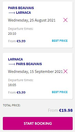Non-stop flights from Paris, France to Larnaca, Cyprus for only €19 roundtrip. Flight deal ticket image.