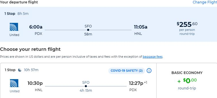 Cheap flights from Portland, Oregon to Honolulu, Hawaii for only $255 roundtrip with United Airlines. Also works in reverse. Flight deal ticket image.