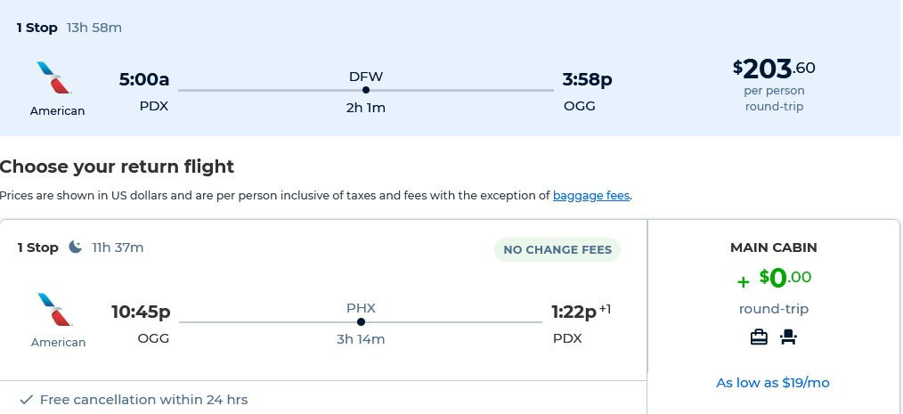Cheap flights from Portland, Oregon to Kahului, Hawaii for only $203 roundtrip with American Airlines. Also works in reverse. Flight deal ticket image.