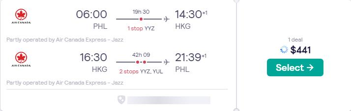Cheap flights from Philadelphia to Hong Kong for only $441 roundtrip with Air Canada. Flight deal ticket image.