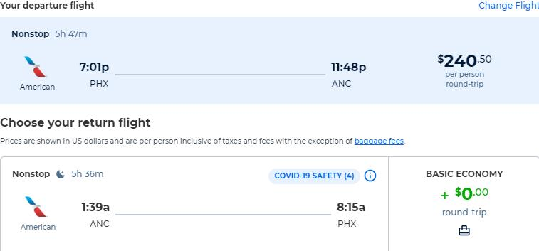 Non-stop, summer flights from Phoenix, Arizona to Anchorage, Alaska for only $240 roundtrip with American Airlines. Also works in reverse. Flight deal ticket image.