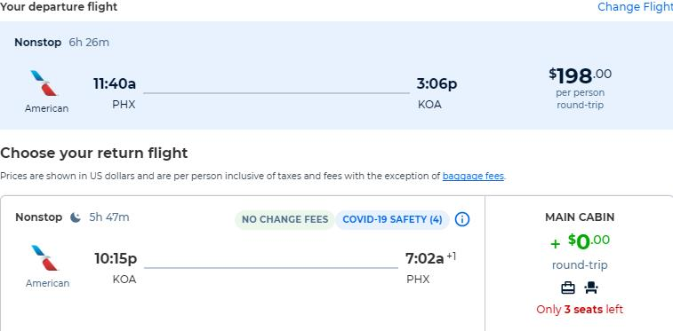 Non-stop flights from Phoenix, Arizona to Kona, Hawaii for only $198 roundtrip with American Airlines. Also works in reverse. Flight deal ticket image.