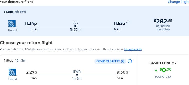 Non-stop flights from Seattle to the Bahamas for only $282 roundtrip with United Airlines. Flight deal ticket image.