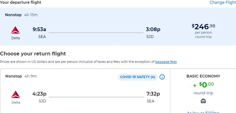 Non-stop flights from Seattle to San Jose del Cabo, Mexico for only $246 roundtrip with Delta Air Lines. Flight deal ticket image.