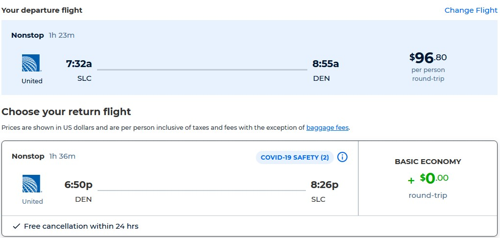 Non-stop flights from Salt Lake City, Utah to Denver, Colorado for only $96 roundtrip with United Airlines. Also works in reverse. Flight deal ticket image.