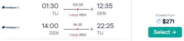 Cheap flights from Tijuana, Mexico to Denver, Colorado for only $271 USD roundtrip with Aeromexico. Flight deal ticket image.