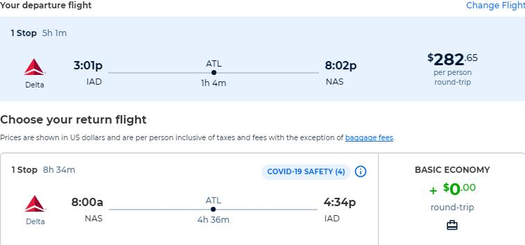 Cheap from Philadelphia or Washington DC to the Bahamas for only $282 roundtrip with Delta Air Lines. Flight deal ticket image.