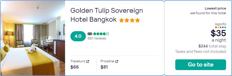 Stay at the 4* Golden Tulip Sovereign Hotel Bangkok in Bangkok, Thailand for only $35 USD per night. Flight deal ticket image.