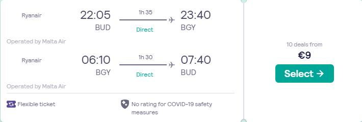 Non-stop flights from Budapest, Hungary to Milan, Italy for only €9 roundtrip. Flight deal ticket image.