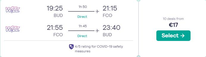 Non-stop flights from Budapest, Hungary to Rome, Italy for only €17 roundtrip. Flight deal ticket image.