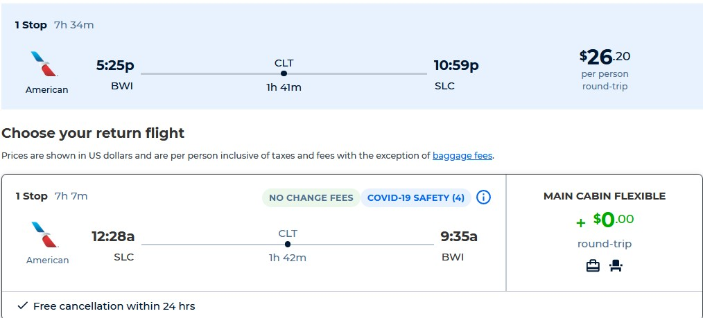 Cheap flights from Baltimore to Salt Lake City, Utah for only $26 roundtrip with American Airlines. Also works in reverse. Flight deal ticket image.
