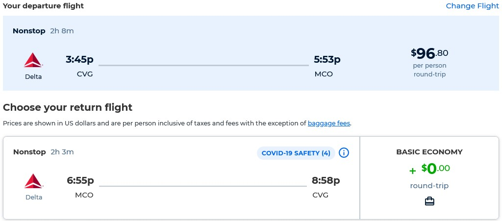Non-stop flights from Cincinnati, Ohio to Orlando, Florida for only $96 roundtrip with Delta Air Lines. Also works in reverse. Flight deal ticket image.