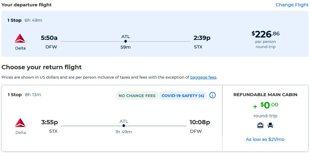 Cheap flights from Dallas, Texas to the US Virgin Islands for only $226 roundtrip with Delta Air Lines. Flight deal ticket image.