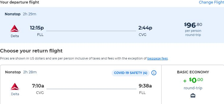 Non-stop flights from Fort Lauderdale to Cincinnati, Ohio for only $96 roundtrip with Delta Air Lines. Also works in reverse. Flight deal ticket image.