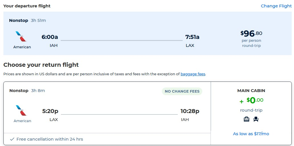 Non-stop flights from Los Angeles to Houston, Texas for only $96 roundtrip with American Airlines. Also works in reverse. Flight deal ticket image.