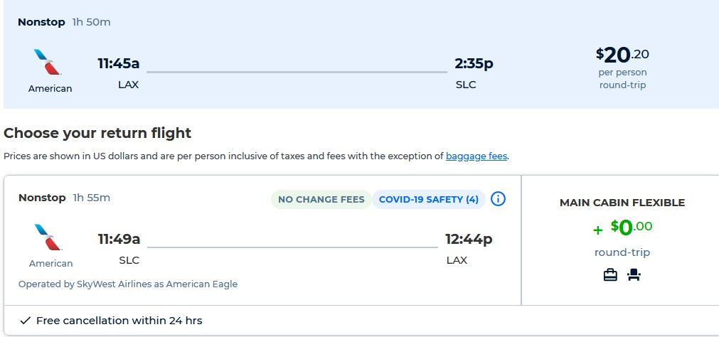 Non-stop flights from Los Angeles to Salt Lake City, Utah for only $20 roundtrip with American Airlines. Also works in reverse. Flight deal ticket image.