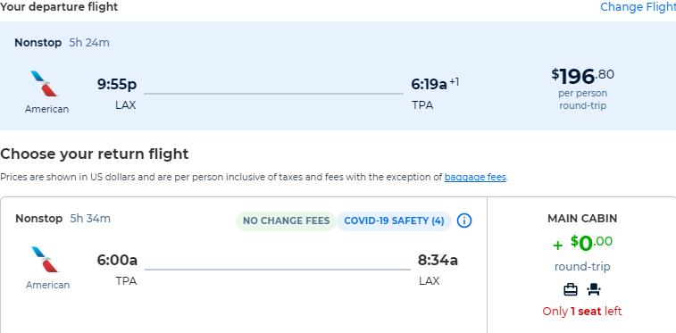 Non-stop flights from Los Angeles to Tampa, Florida for only $196 roundtrip with American Airlines. Also works in reverse. Flight deal ticket image.