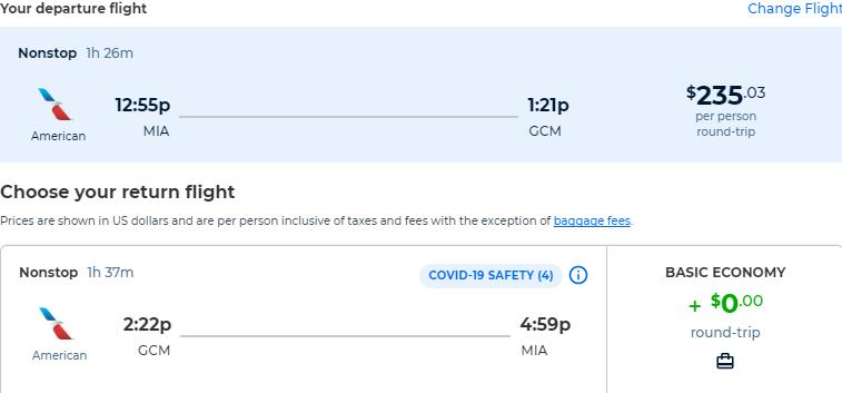Non-stop flights from Miami to the Cayman Islands for only $235 roundtrip with American Airlines. Flight deal ticket image.