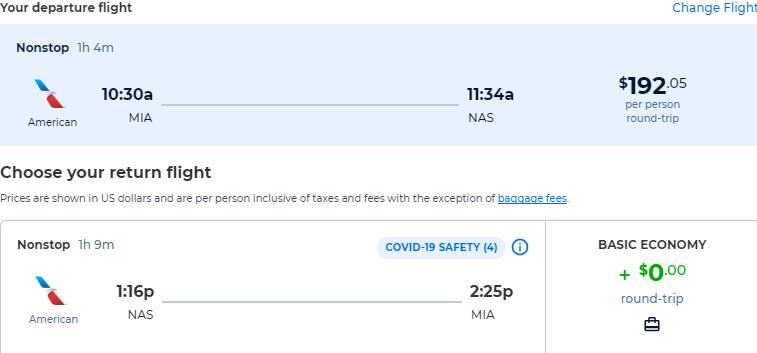 Non-stop flights from Miami to the Bahamas for only $192 roundtrip with American Airlines. Flight deal ticket image.