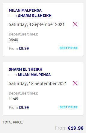 Non-stop flights from Milan, Italy to Sharm el Sheikh, Egypt for only €19 roundtrip. Flight deal ticket image.