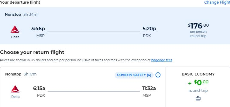 Non-stop flights from Minneapolis to Portland, Oregon for only $176 roundtrip with Delta Air Lines. Also works in reverse. Flight deal ticket image.