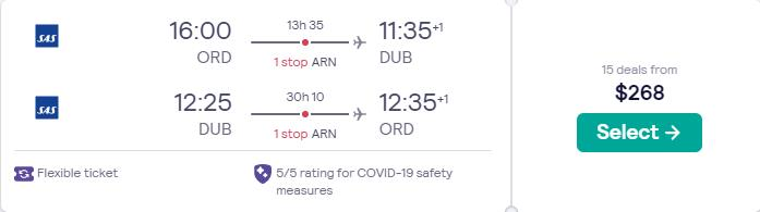 Cheap flights from Chicago to Dublin, Ireland for only $268 roundtrip with SAS. Flight deal ticket image.