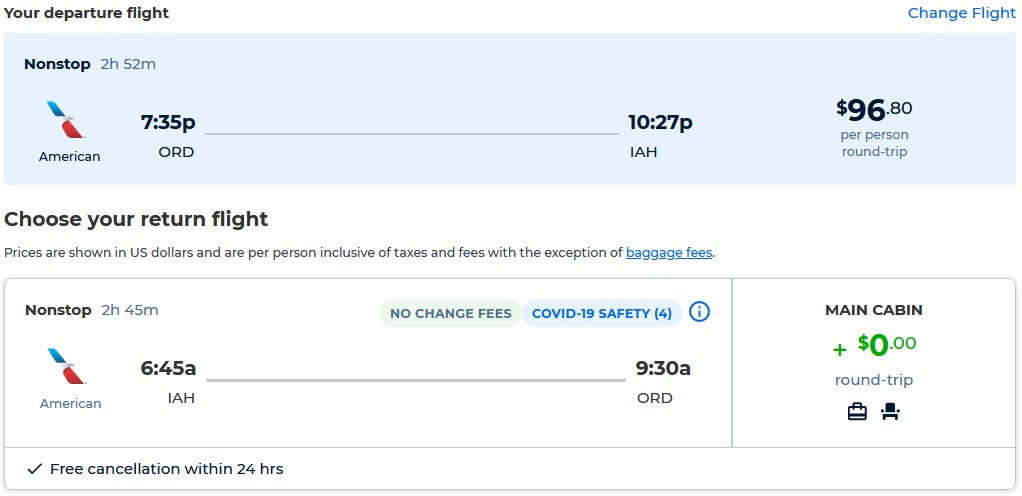 Non-stop flights from Chicago to Houston, Texas for only $96 roundtrip with American Airlines. Also works in reverse. Flight deal ticket image.