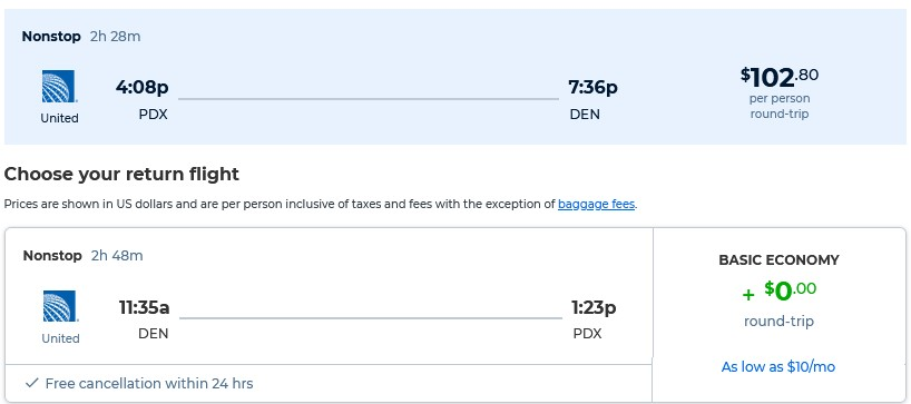 Non-stop flights from Portland, Oregon to Denver, Colorado for only $102 roundtrip with United Airlines. Also works in reverse. Flight deal ticket image.