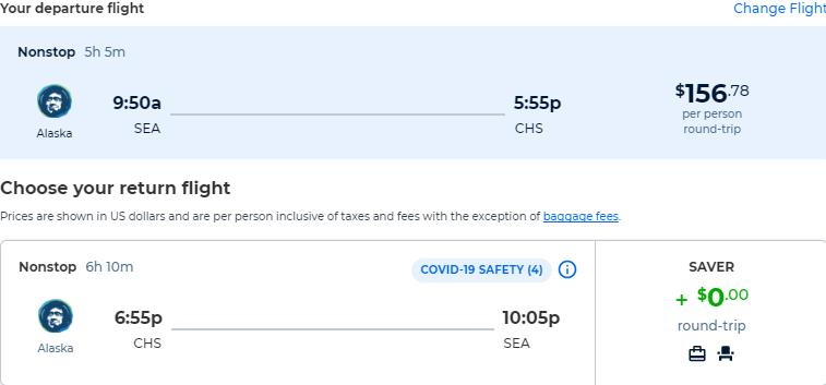 Non-stop flights from Seattle to Charleston, South Carolina for only $156 roundtrip with Alaska Airlines. Also works in reverse. Flight deal ticket image.