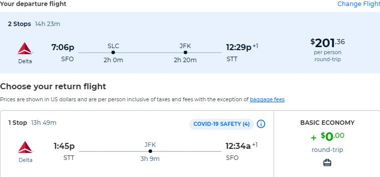Cheap flights from San Francisco to the US Virgin Islands for only $201 roundtrip with Delta Air Lines. Flight deal ticket image.