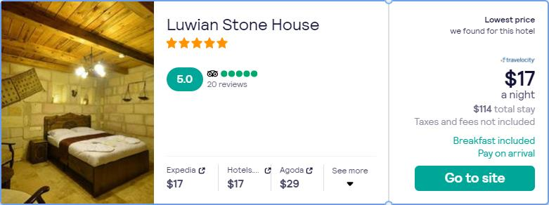 Stay at the 5* Luwian Stone House in Nevsehir, Turkey for only $17 USD per night. Flight deal ticket image.