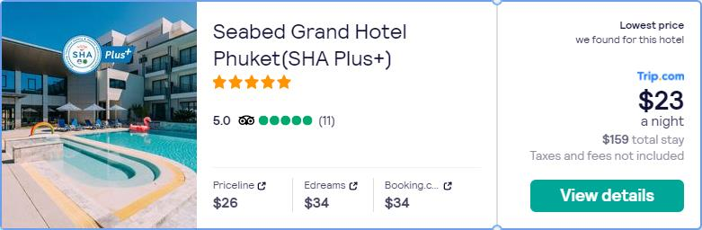 Stay at the 5* Seabed Grand Hotel Phuket(SHA Plus+) in Phuket, Thailand for only $23 USD per night. Flight deal ticket image.