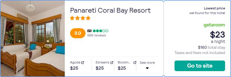 Stay at the 4* Panareti Coral Bay Resort in Paphos, Cyprus for only $23 USD per night. Flight deal ticket image.