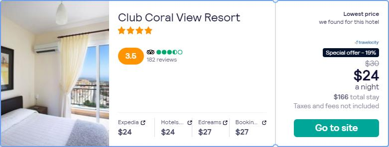 Stay at the 4* Club Coral View Resort in Paphos, Cyprus for only $24 USD per night. Flight deal ticket image.