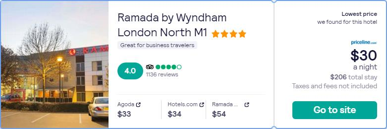 Stay at the 4* Ramada by Wyndham London North M1 in London, UK for only $30 USD per night. Flight deal ticket image.